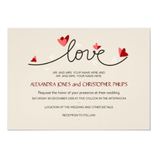 In Love Simple Elegant Text Wedding Card