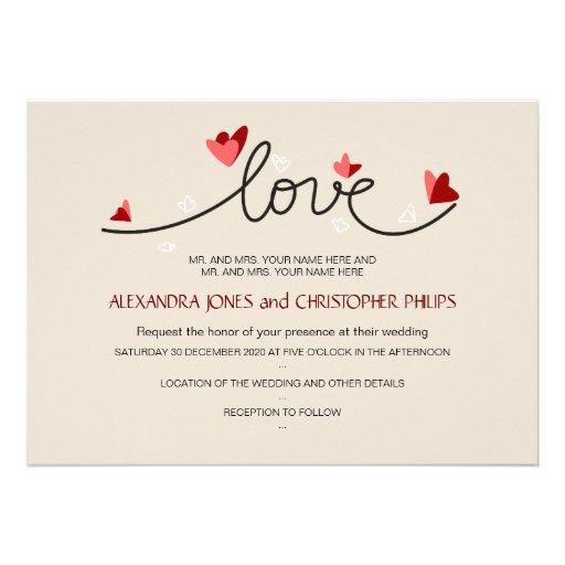 In Love Simple Elegant Text Wedding Invitation