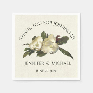 In Love - Vintage Magnolia Floral Wedding Custom Disposable Napkins