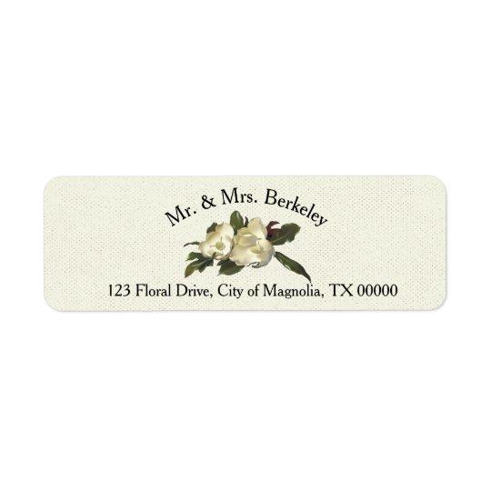 In Love - Vintage Magnolia Floral Wedding Custom Return Address Label