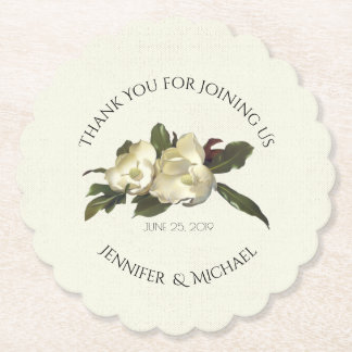 In Love - Vintage Magnolia Floral Wedding Favor Paper Coaster