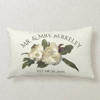 In Love - Vintage Magnolias Custom Wedding Gift Lumbar Pillow