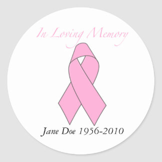 In Loving Memory, Breast Cancer Classic Round Sticker