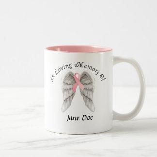 In Loving Memory Breast Cancer Customizable Mug. Two-Tone Mug