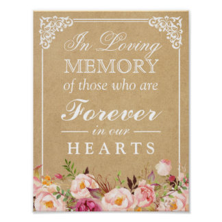 In Loving Memory Floral Kraft Wedding Sign