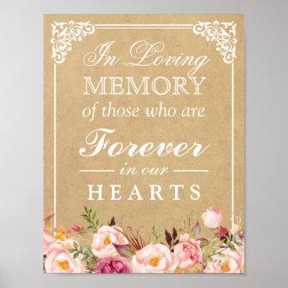 In Loving Memory Floral Kraft Wedding Sign Poster