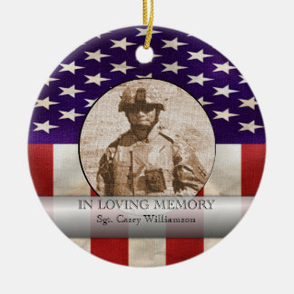 In Loving Memory Military Photo Personalized Ceramic Ornament