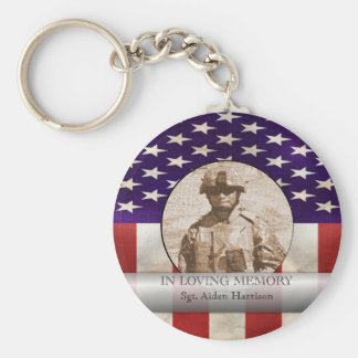 In Loving Memory Military Photo Personalized Key Ring