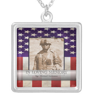 In Loving Memory Military Photo Personalized Silver Plated Necklace