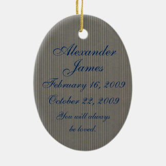 In Loving Memory Oval Baby Boy's Death Memorial Double-Sided Oval Ceramic Christmas Ornament