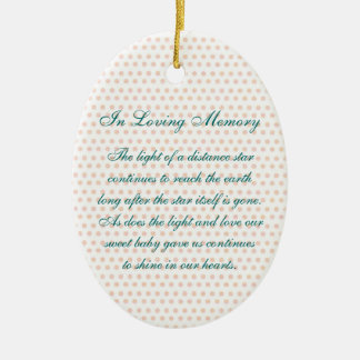 In Loving Memory Oval Baby Girl's Death Memorial Double-Sided Oval Ceramic Christmas Ornament