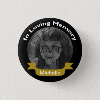 In Loving Memory Photo Black/Gold Button