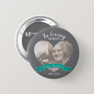 In loving memory photo heart pink ribbon button