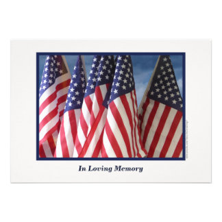 In Loving Memory Service Invitation Flags