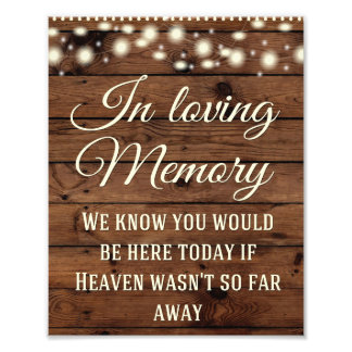 In Loving Memory Sign, Wedding Sign, Wedding Decor Photo Print