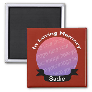 In Loving Memory Square Photo Magnet Red