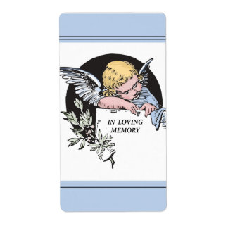 In Loving Memory Vintage Angel, Remembrance on Blu Shipping Label