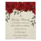 In loving memory wedding sign red roses floral