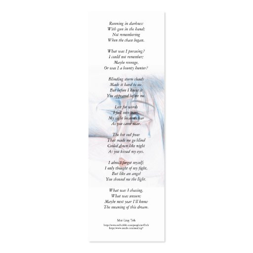 In mad rage I was blind... poetry bookmark Business Card