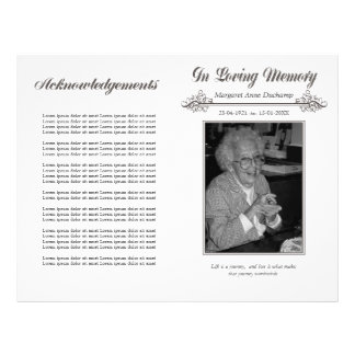 In memoriam flyers leaflets for In memoriam cards template