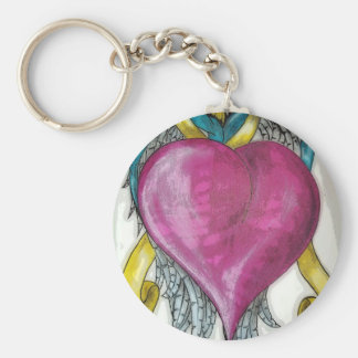In memory heart basic round button key ring