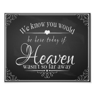 In Memory of a loved one chalkboard wedding print