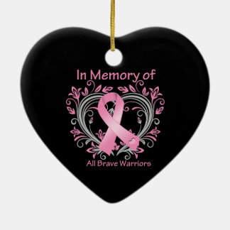 In Memory of All Brave Warriors Breast Cancer Ceramic Heart Decoration