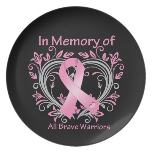 In Memory of All Brave Warriors Breast Cancer Party Plate