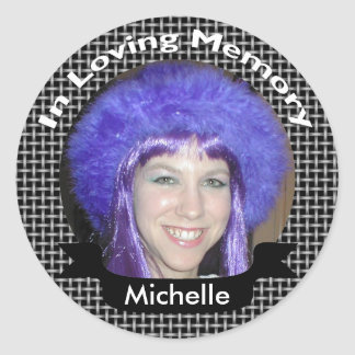In Memory Of Black Weave Photo Stickers