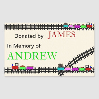 In Memory of Donated Train Bookplates Rectangular Sticker