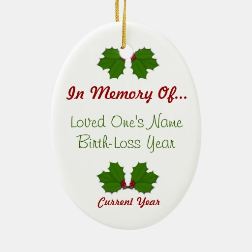 In Memory Of - Holly Oval Ornament 2-Sided