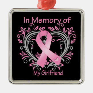 In Memory of My Girlfriend Breast Cancer Heart Christmas Ornament