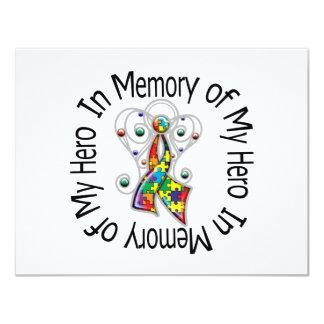 In Memory of My Hero Autism Angel Wings 11 Cm X 14 Cm Invitation Card