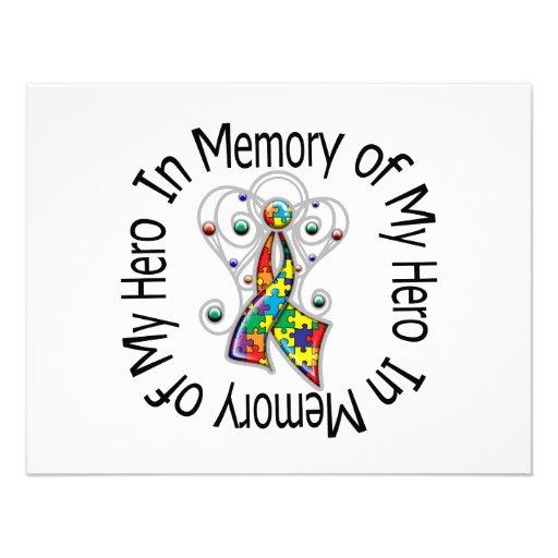 In Memory of My Hero Autism Angel Wings Invitations