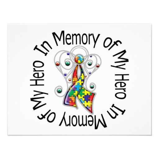 In Memory of My Hero Autism Angel Wings Personalized Invite