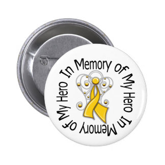In Memory of My Hero Childhood Cancer Angel Wings Button