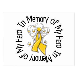 In Memory of My Hero Childhood Cancer Angel Wings Postcard