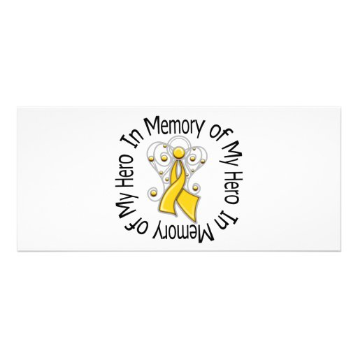 In Memory of My Hero Childhood Cancer Angel Wings Custom Rack Card