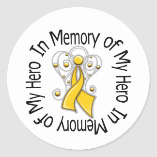 In Memory of My Hero Childhood Cancer Angel Wings Stickers