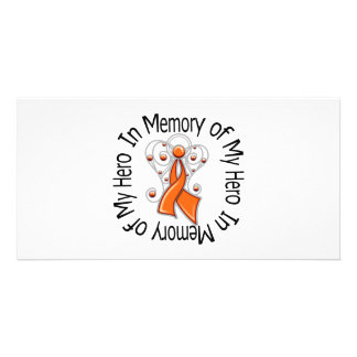 In Memory of My Hero Kidney Cancer Angel Wings v2 Personalised Photo Card
