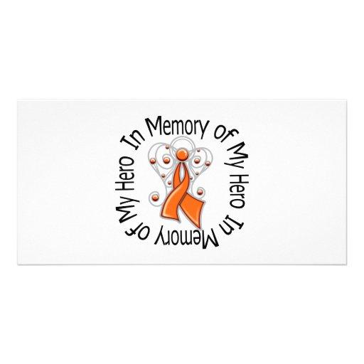 In Memory of My Hero Kidney Cancer Angel Wings v2 Custom Photo Card