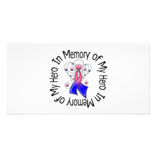 In Memory of My Hero Male Breast Cancer Angel Wing Photo Card Template