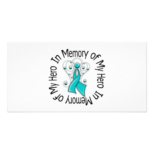 In Memory of My Hero Ovarian Cancer Angel Wings Personalized Photo Card