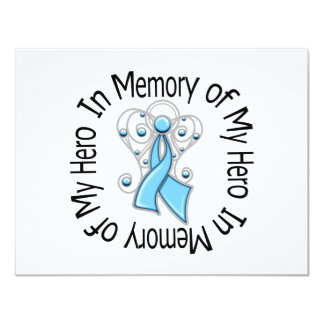 In Memory of My Hero Prostate Cancer Angel Wings 11 Cm X 14 Cm Invitation Card
