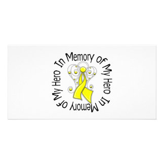 In Memory of My Hero Sarcoma Angel Wings Photo Cards