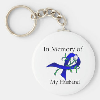 In Memory of My Husband - Colon Cancer Basic Round Button Key Ring