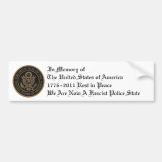 In memory of the United States Car Bumper Sticker