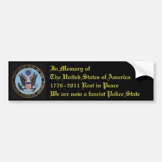 In Memory of The United States Bumper Sticker