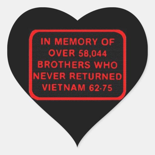 In Memory of Vietnam KIA MIA Patch Sicker Heart Sticker