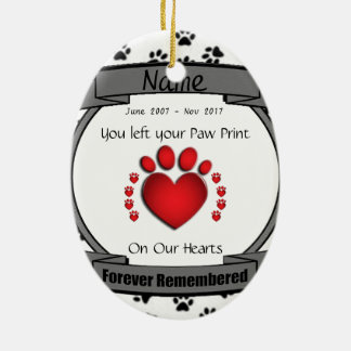 In Memory of Your Dog or Cat Forever Remembered Ceramic Ornament